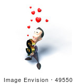 #49550 Royalty-Free (Rf) Illustration Of An Amorous 3d Businessman Mascot Carrying A Dollar Symbol - Version 4
