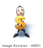 #49551 Royalty-Free (Rf) Illustration Of A 3d Businessman Mascot Holding A Dollar Symbol - Version 3
