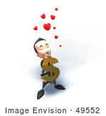#49552 Royalty-Free (Rf) Illustration Of An Amorous 3d Businessman Mascot Carrying A Dollar Symbol - Version 3