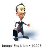 #49553 Royalty-Free (Rf) Illustration Of A 3d Businessman Mascot Reaching Out To Shake Hands - Version 5