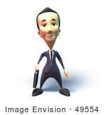 #49554 Royalty-Free (Rf) Illustration Of A 3d Businessman Mascot Standing And Facing Front - Version 1