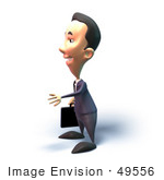 #49556 Royalty-Free (Rf) Illustration Of A 3d Businessman Mascot Reaching Out To Shake Hands - Version 6