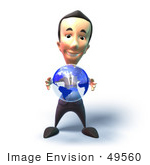 #49560 Royalty-Free (Rf) Illustration Of A 3d Businessman Mascot Holding A Globe - Version 3