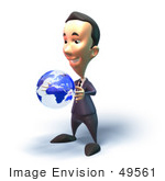 #49561 Royalty-Free (Rf) Illustration Of A 3d Businessman Mascot Holding A Globe - Version 4