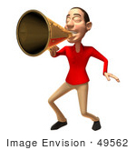 #49562 Royalty-Free (Rf) Illustration Of A 3d White Man Using A Megaphone - Version 3