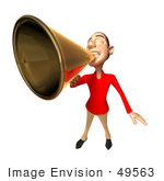 #49563 Royalty-Free (Rf) Illustration Of A 3d White Man Using A Megaphone - Version 2