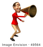 #49564 Royalty-Free (Rf) Illustration Of A 3d White Man Using A Megaphone - Version 4