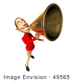 #49565 Royalty-Free (Rf) Illustration Of A 3d White Man Using A Megaphone - Version 1