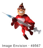 #49567 Royalty-Free (Rf) Illustration Of A 3d Red Superhero Holding A Swine Flu Syringe