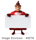 #49576 Royalty-Free (Rf) Illustration Of A 3d Red Superhero Holding A Blank Sign - Pose 1