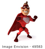 #49583 Royalty-Free (Rf) Illustration Of A 3d Red Superhero Standing And Punching