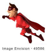 #49586 Royalty-Free (Rf) Illustration Of A 3d Red Superhero Flying - Pose 1