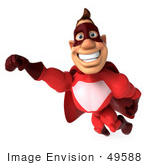 #49588 Royalty-Free (Rf) Illustration Of A 3d Red Superhero Flying - Pose 3
