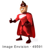 #49591 Royalty-Free (RF) Illustration Of 3d Red Superhero Giving The Thumbs Up by Julos