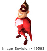 #49593 Royalty-Free (Rf) Illustration Of A 3d Red Superhero Standing - Pose 4