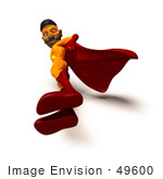 #49600 Royalty-Free (Rf) Illustration Of A 3d Black Superhero Standing And Looking Down