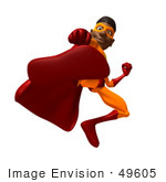 #49605 Royalty-Free (Rf) Illustration Of A 3d Black Superhero Kicking Forward