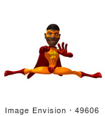 #49606 Royalty-Free (Rf) Illustration Of A 3d Black Superhero Doing The Splits - Version 2