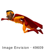 #49609 Royalty-Free (Rf) Illustration Of A 3d Black Superhero Flying - Version 1