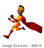 #49610 Royalty-Free (Rf) Illustration Of A 3d Black Superhero Runing And Clenching His Fists - Version 1