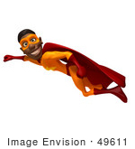 #49611 Royalty-Free (Rf) Illustration Of A 3d Black Superhero Flying - Version 2