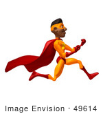 #49614 Royalty-Free (Rf) Illustration Of A 3d Black Superhero Runing And Clenching His Fists - Version 2