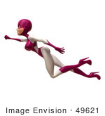 #49621 Royalty-Free (Rf) Illustration Of A 3d Superwoman Flying - Version 1