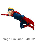 #49632 Royalty-Free (Rf) Illustration Of A 3d Superman Flying - Version 2