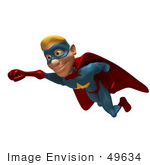 #49634 Royalty-Free (Rf) Illustration Of A 3d Male Star Superhero Mascot Flying - Version 1
