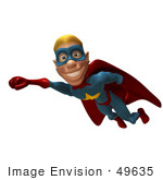 #49635 Royalty-Free (Rf) Illustration Of A 3d Male Star Superhero Mascot Flying - Version 2