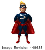 #49638 Royalty-Free (Rf) Illustration Of A 3d Male Super Guy Mascot Standing And Facing Front