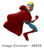 #49639 Royalty-Free (Rf) Illustration Of A 3d Superman Kicking - Version 1