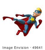 #49641 Royalty-Free (Rf) Illustration Of A 3d Superman Kicking - Version 3