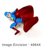 #49644 Royalty-Free (Rf) Illustration Of A 3d Masked Superhero Kicking - Version 7