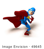 #49645 Royalty-Free (Rf) Illustration Of A 3d Masked Superhero Kicking - Version 4