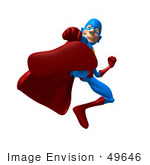 #49646 Royalty-Free (Rf) Illustration Of A 3d Masked Superhero Kicking - Version 2