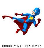 #49647 Royalty-Free (Rf) Illustration Of A 3d Masked Superhero Kicking - Version 6