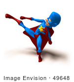 #49648 Royalty-Free (Rf) Illustration Of A 3d Masked Superhero Kicking - Version 5
