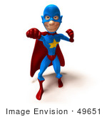 #49651 Royalty-Free (Rf) Illustration Of A 3d Masked Superhero Punching - Version 2
