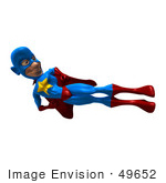 #49652 Royalty-Free (Rf) Illustration Of A 3d Masked Superhero Doing A Flying Side Kick