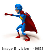 #49653 Royalty-Free (Rf) Illustration Of A 3d Masked Superhero Punching - Version 3