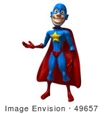#49657 Royalty-Free (Rf) Illustration Of A 3d Masked Superhero Presenting
