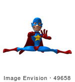 #49658 Royalty-Free (Rf) Illustration Of A 3d Masked Superhero Punching And Doing The Splits
