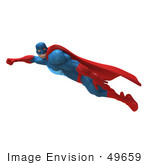 #49659 Royalty-Free (Rf) Illustration Of A 3d Powerful Superhero Flying - Version 2