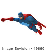 #49660 Royalty-Free (Rf) Illustration Of A 3d Powerful Superhero Flying - Version 3