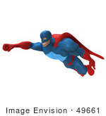 #49661 Royalty-Free (Rf) Illustration Of A 3d Powerful Superhero Flying - Version 4