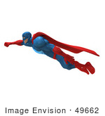 #49662 Royalty-Free (RF) Illustration Of A 3d Powerful Superhero Flying - Version 1 by Julos