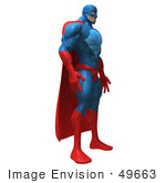 #49663 Royalty-Free (Rf) Illustration Of A 3d Powerful Superhero Standing And Facing Right