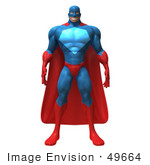 #49664 Royalty-Free (Rf) Illustration Of A 3d Powerful Superhero Standing And Facing Front - Version 1
