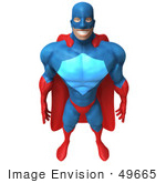 #49665 Royalty-Free (Rf) Illustration Of A 3d Powerful Superhero Standing And Facing Front - Version 2
